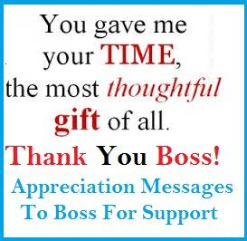 Appreciation Messages Boss For Support Thank You