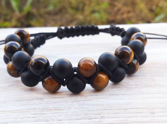 Double Beaded Shambala Bracelet, Mens Shambala Bracelet, Tigereye Black Matte Onyx, Gifts for Him, Cool Men Bracelet