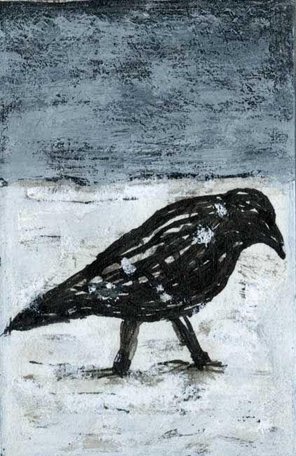 © Peter Booth ~ Drawing 1995 (black bird)