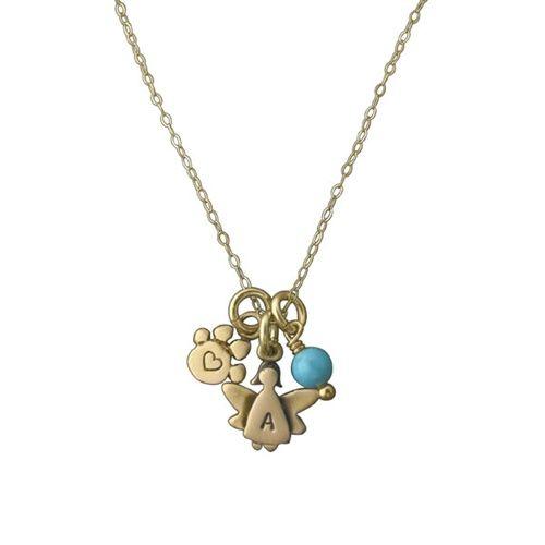 """14K Gold Pet Angel Memorial Necklace, 16"""""""