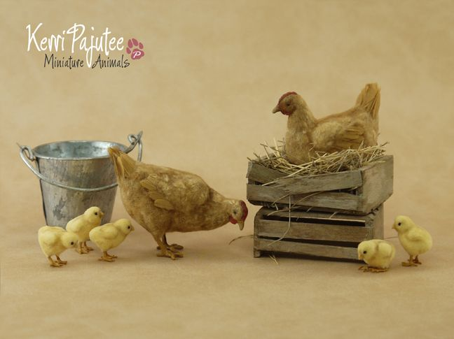 1:12 Buff Hens & Chicks (handformed from polymer clay, wire, feathers & flock)