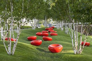 Red cell landscape architecture in Hamburg