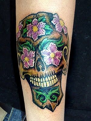 sugar skull tattoo by kat von d