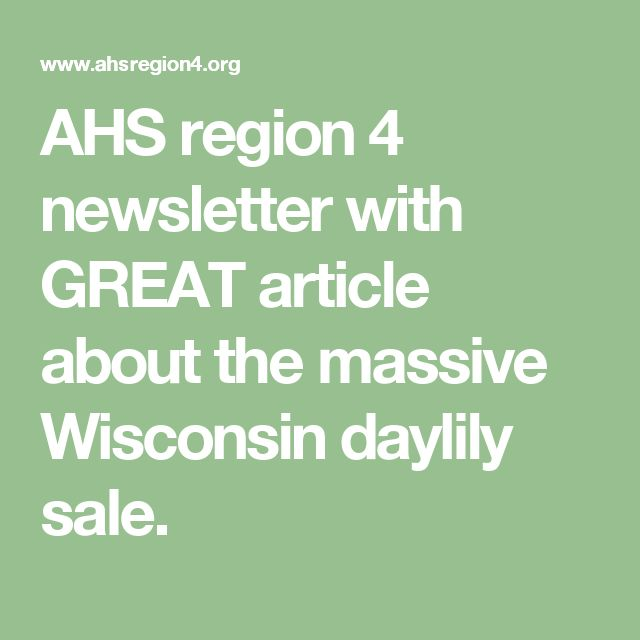 AHS region 4 newsletter with GREAT article about the massive Wisconsin daylily sale.