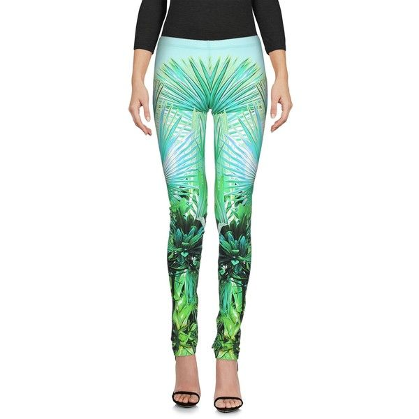 Roberto Cavalli Gym  Leggings ($190) ❤ liked on Polyvore featuring pants, leggings, light green, multi colored leggings, straight leg pants, multi color leggings, mid rise pants and white elastic waist pants