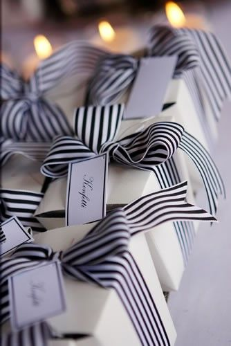 french boxes + black and white ribbon