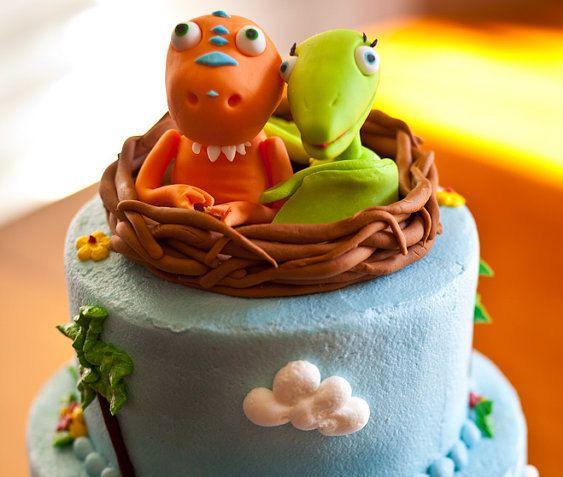 Dinosaur Train inspired fondant cake topper by HoneysGoods on Etsy