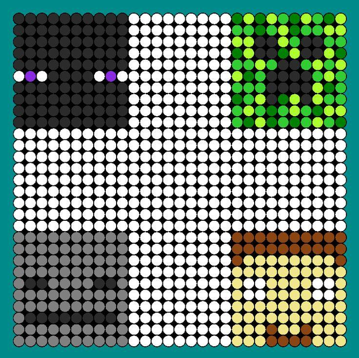 Minecraft Faces Enderman Creeper Skeleton And Herobrine Perler Bead Pattern / Bead Sprite