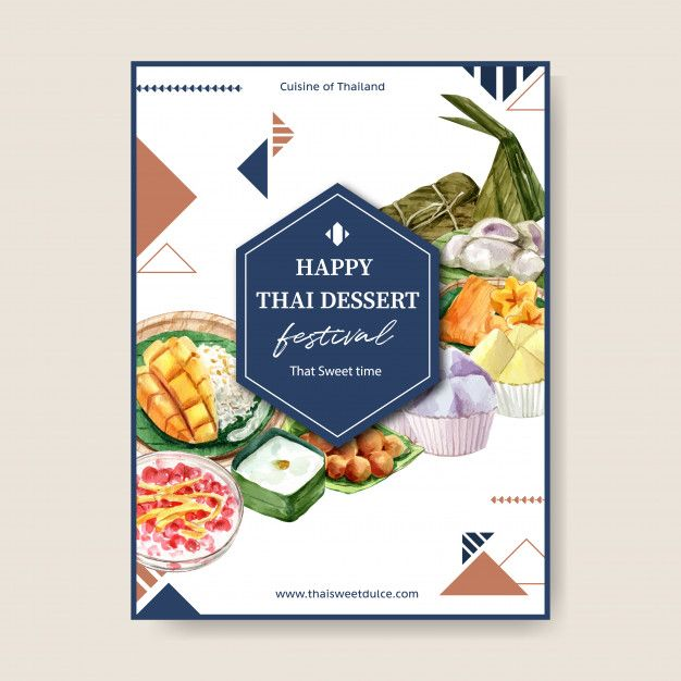 Download Thai Sweet Poster Design With Sticky Rice Mango Pudding