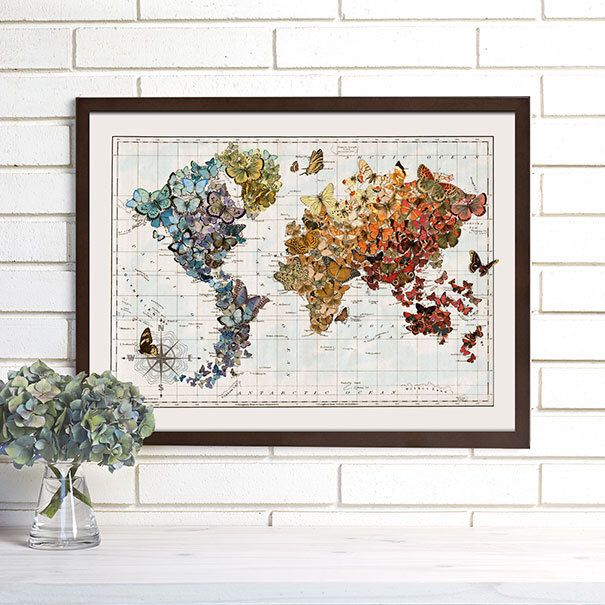 Vintage Map Wall Art, Butterfly Migration, World Map Lithograph by wendygold on Etsy https://www.etsy.com/listing/113903292/vintage-map-wall-art-butterfly-migration