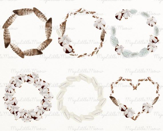 Winter wreath clip art autumn wedding clipart rustic boho wreath floral fall frame watercolor digita