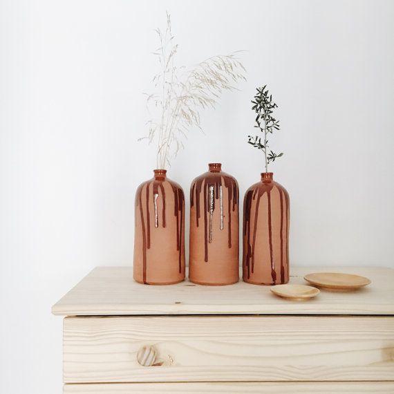 Ceramic vase drip effect flower vase handmade by AmenamenStudio