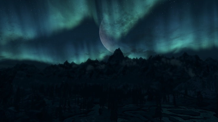 Skyrim   moon   forest at nightForest At Night With Moon