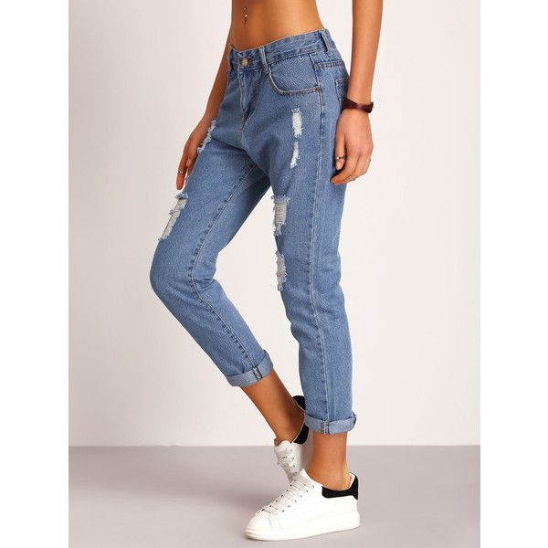 SheIn(sheinside) Blue Ripped Denim Pant ($19) ❤ liked on Polyvore featuring jeans, loose fitting jeans, destroyed jeans, loose jeans, distressed jeans and denim jeans