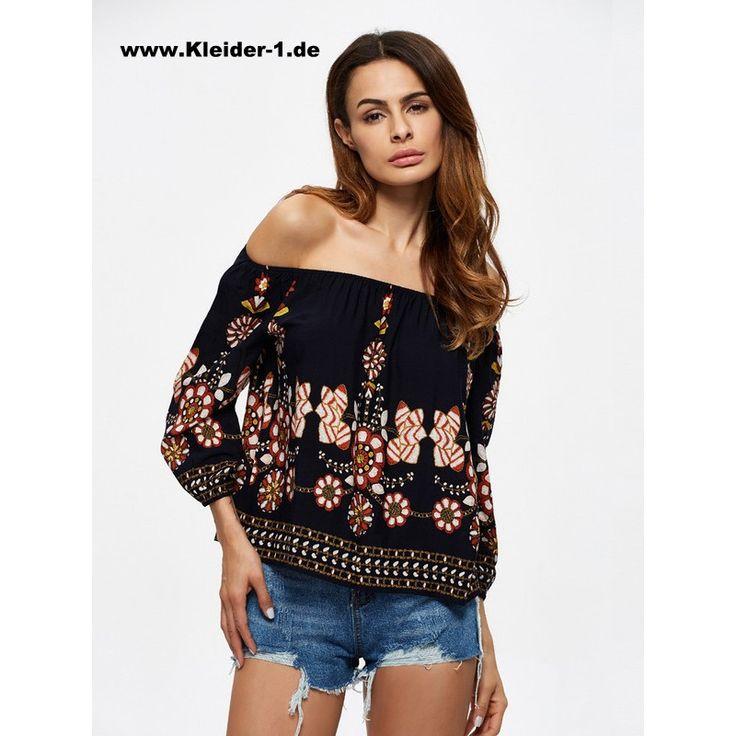 Damen Shirt Schulterfrei mit Blumenmotiv Langarm