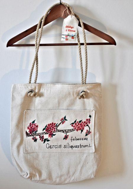 doğal ketene elboyamalı halatlı çanta _ erguvan dalı