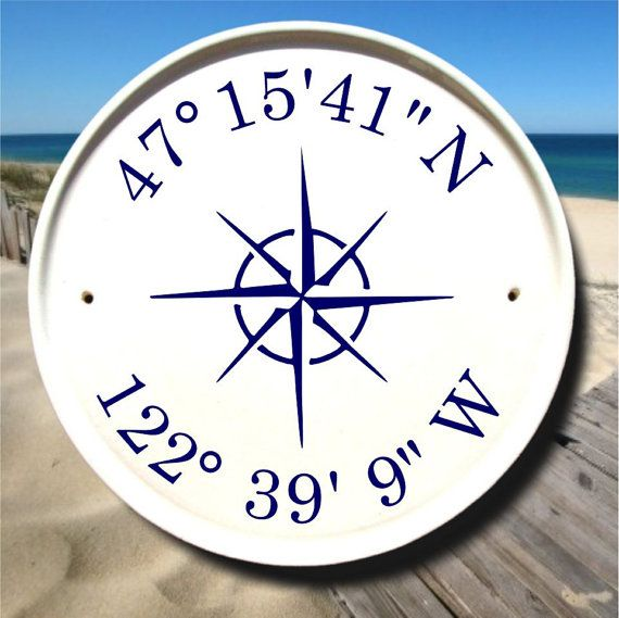 Nautical Compass & Coordinates House Plaque / Boat House Sign / Latitude Longitude Sign / Sail Boat Decor / Nautical Sign/Customizable Gifts