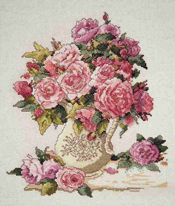 "Counted Cross Stitch kit 10"" x 12""  CHINA ROSES"