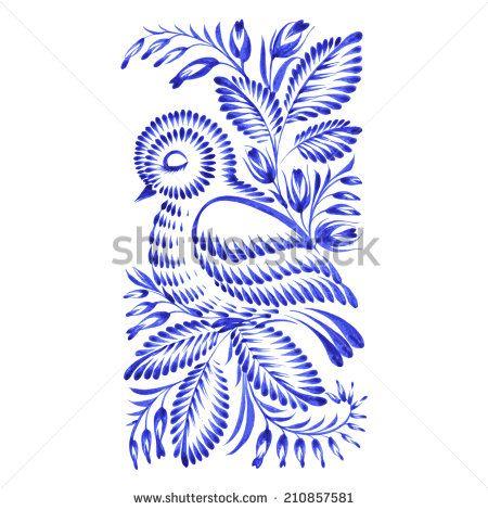 floral decorative ornament bird asleep   - stock vector