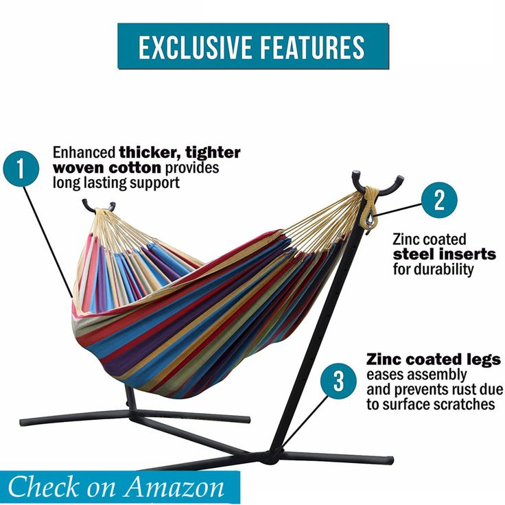 Vivere Double Hammock Stand with Space-Saving Steel, hammock with stand review