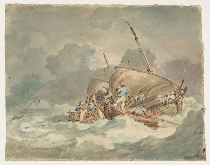 Joseph Mallord William Turner 'Sailors Getting Pigs on Board a Boat in a Choppy Sea',   --   From Drawings and Watercolours Connected with the Welsh and Marches Tours  -  1792–3  -  Graphite and watercolour on paper -  Dimensions Support: 222 x 273 mm -  Collection -  Tate