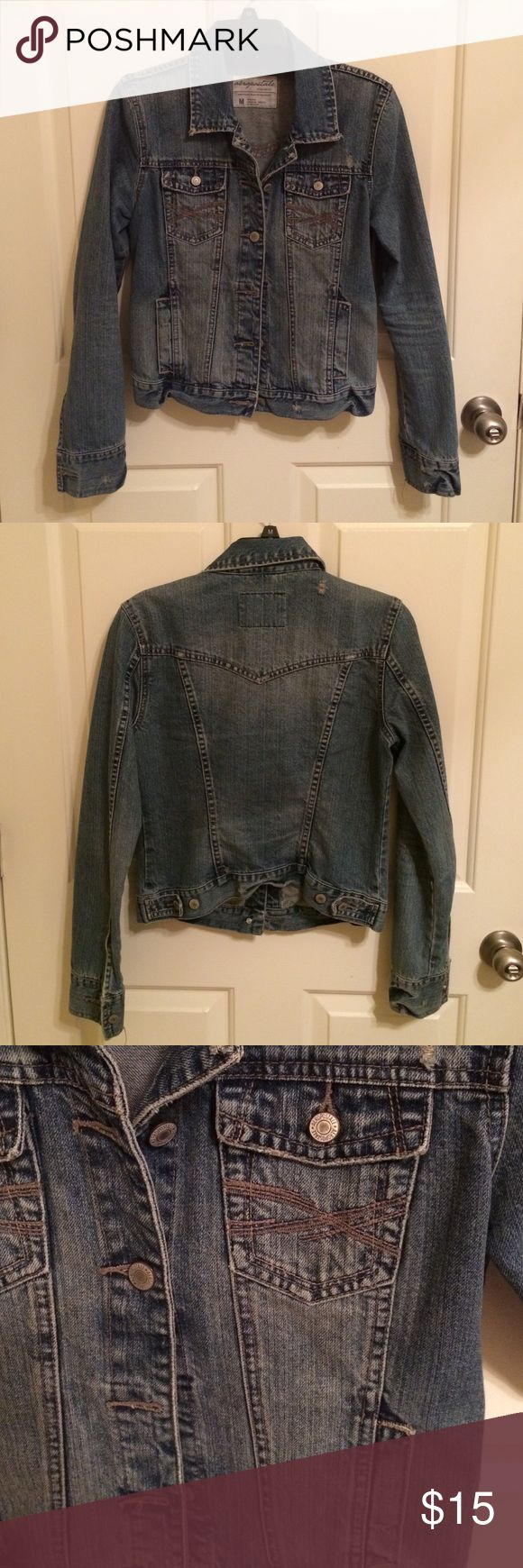 Classic Denim Jacket The perfect jean jacket. Has a classic fit, fitted but not too much. Will be more fitted on size medium (6-8) or have more of a boyfriend fit on small/xs. Has destressed look and a fairly dark wash. No flaws, great condition. Aeropostale Jackets & Coats Jean Jackets