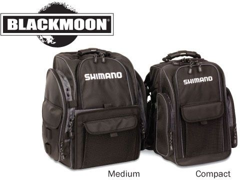 Shimano Blackmoon Fishing Backpacks   Shimano Blackmoon Fishing Backpacks are built for anglers who walk to their local lake or river for a day of fishing. Heavy duty material provides durability and thick shoulder padding reduces fatigue. Expect nothing less than the highest quality and performance minded product.