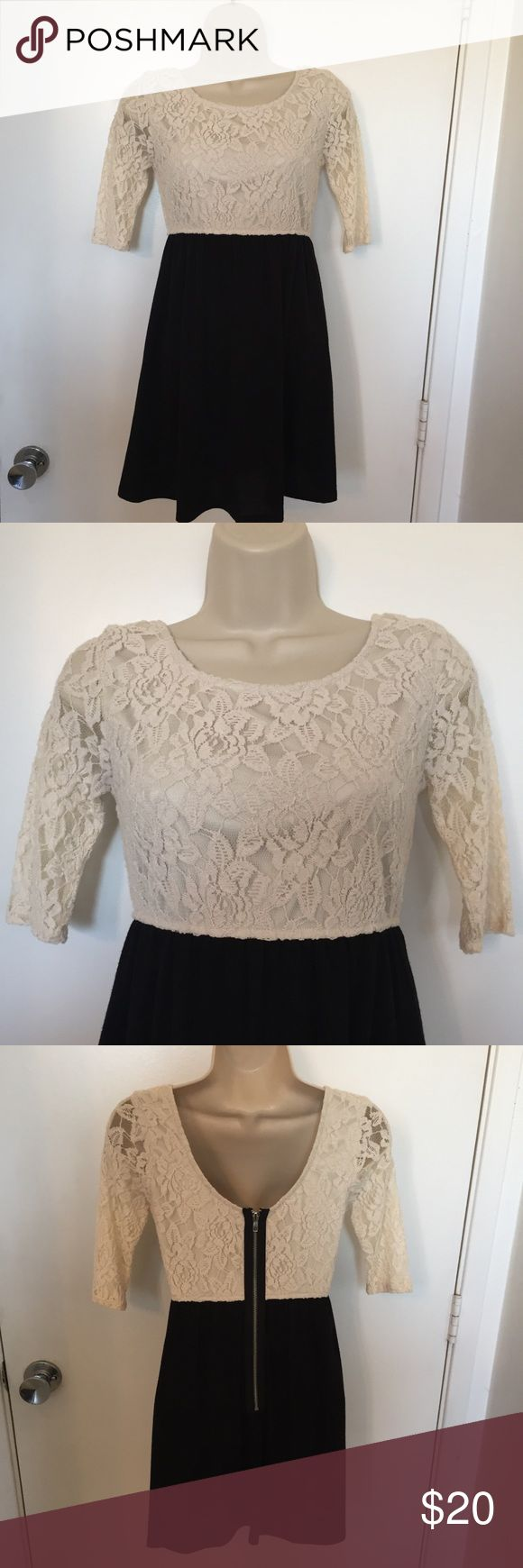 Speeckless mini cream color lace and black dress 3 Cute Speeckless brand black skirt and cream lace 3/4 sleeve and lined bodice top. Zip up back . Great for New Years or just going out at night with booties . Gently used . Speeckless Dresses Mini