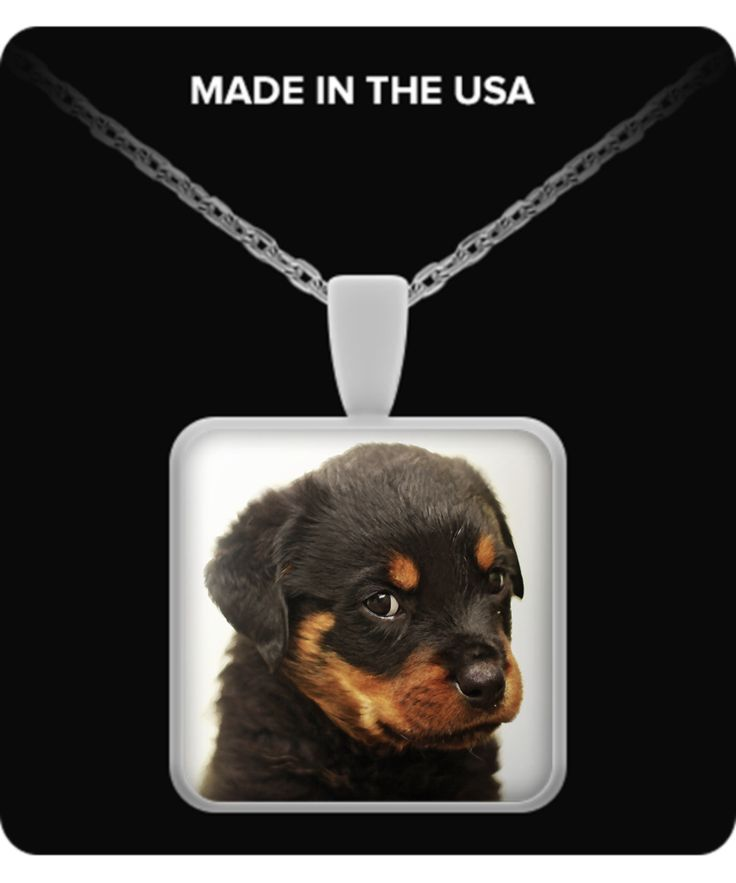 Rottweiler Puppy - Square Necklace