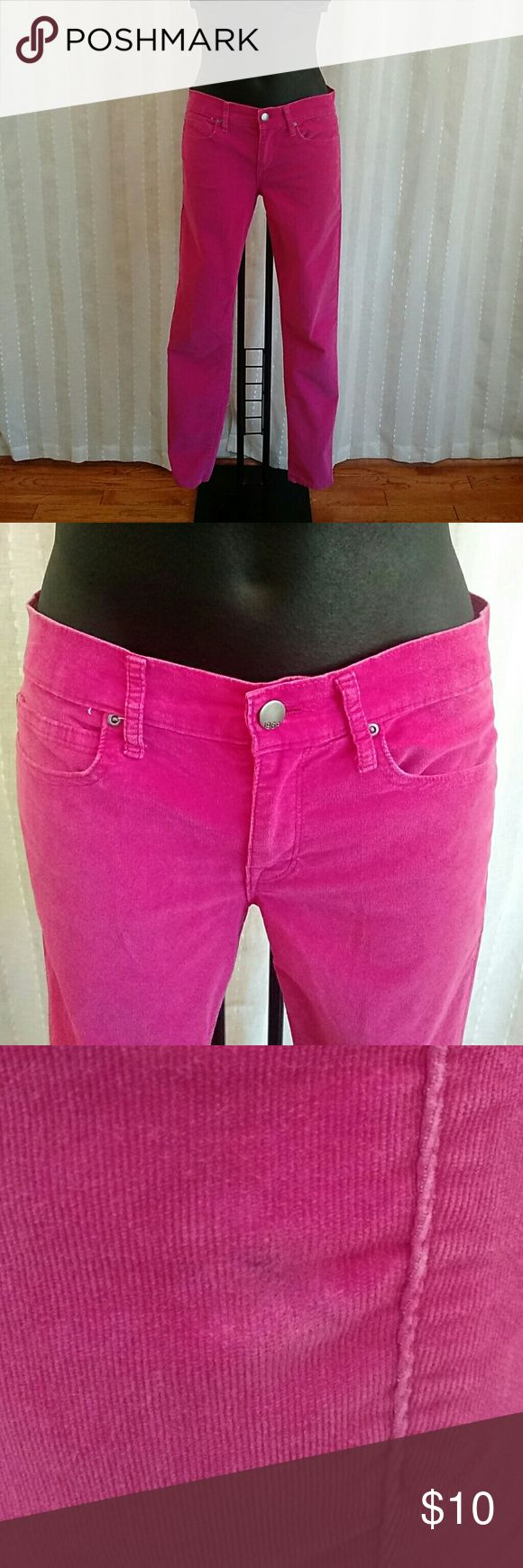 Gap 1969 legging Jean Hot pink corduroy, legging Jean, size 27 regular , button-front front closure, small ink Mark by left pocket picture above, moderately loved GAP Jeans