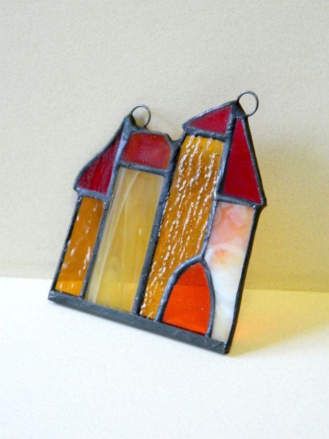 Stained glass magic castle in yellow and orange by ioart on Etsy
