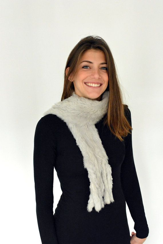 Women's Handmade Light Gray Fur scarf made with Rabbit by lefushop