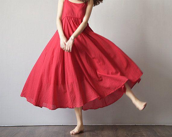 Taglio ampio prendisole in cotone senza maniche lungo Maxi abito - vestito estivo a - per le donne