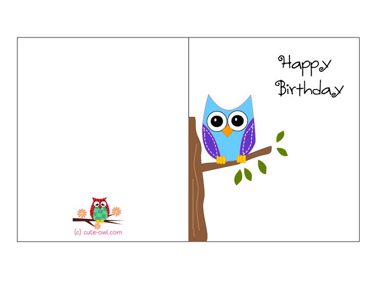 cute owl sitting on a branch happy birthday card favorite freebies printables free birthday. Black Bedroom Furniture Sets. Home Design Ideas