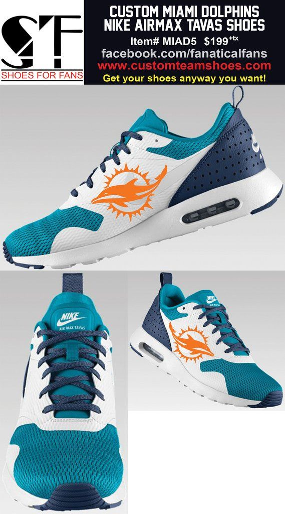 Miami Dolphins Nike AirMax Tavas Custom Men's Shoes