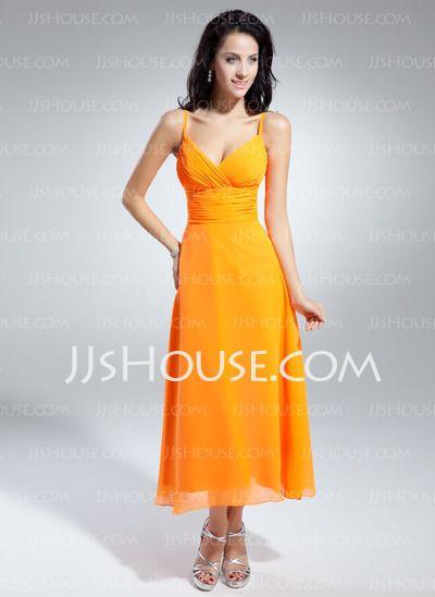 Bridesmaid Dresses - $99.99 - A-Line/Princess V-neck Tea-Length Chiffon Bridesmaid Dress With Ruffle (007014851) http://jjshouse.com/A-Line-Princess-V-Neck-Tea-Length-Chiffon-Bridesmaid-Dress-With-Ruffle-007014851-g14851