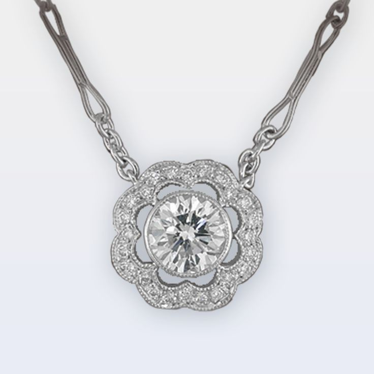 Platinum Diamond Necklace with a Pave Flower Design – Peter Norman Jewelers