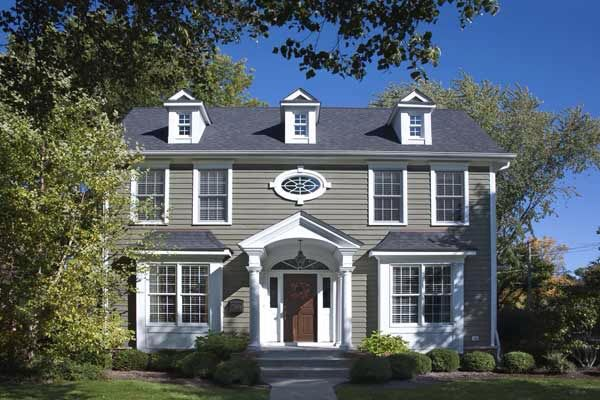 Charcoal Roof Gray House Colonial Exterior House Paint