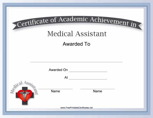 Physician aides can use this free, printable certificate of - medical assistant certificate