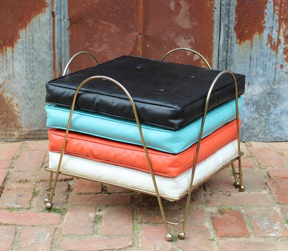 Vintage Mid Century Modern Floor Pillow Set with Rack Atomic Retro on Etsy, $165.00