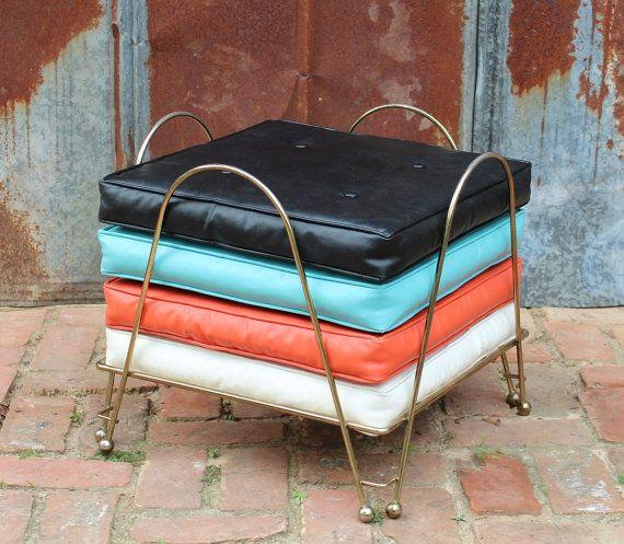 Vintage Mid Century Modern Floor Pillow Set with Rack Atomic Retro on Etsy, $165.00