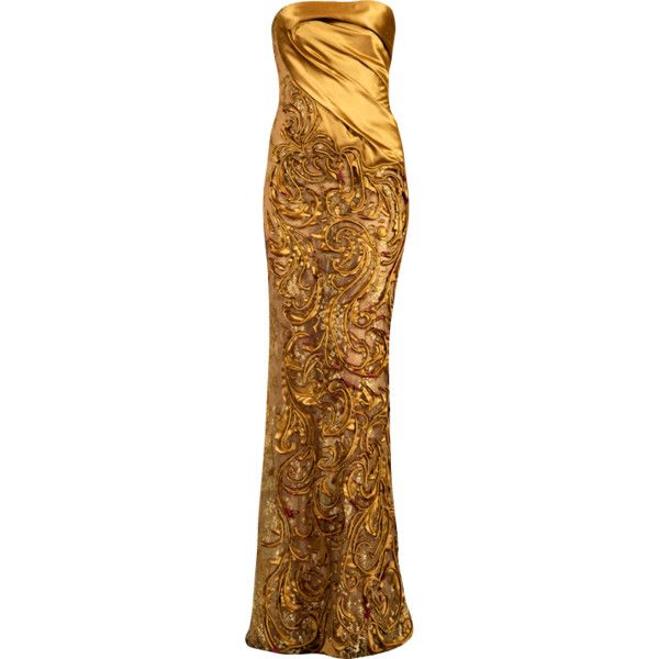 gold-dress-editedbymlleemilee ❤ liked on Polyvore featuring dresses, gowns, long dresses, vestidos, yellow gold dress, gold evening dresses, gold ball gown, gold gown and brown dress