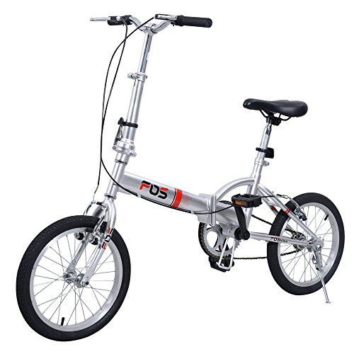 "Giantex 16"" Folding Bike Single Speed Bicycle Fold Storage Silver School Sports - http://www.bicyclestoredirect.com/giantex-16-folding-bike-single-speed-bicycle-fold-storage-silver-school-sports/"