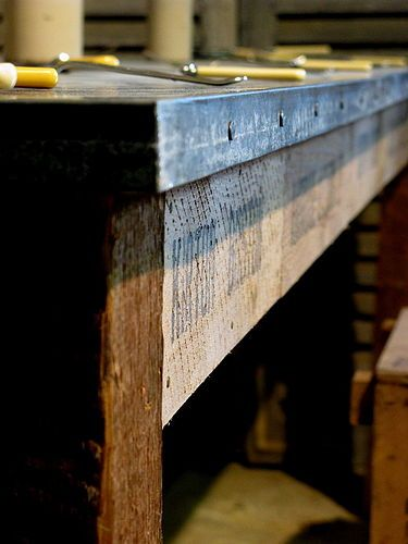 zinc table top with reclaimed timber base