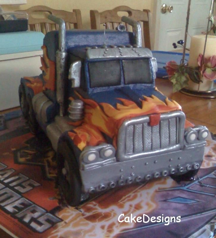 Transformers - Optimus Prime in truck mode - This cake was cut from a 11x15 sheet cake. It took my husband and I about 12 hours to make. Well, it was for our son so it was made with love. Hope you like it. Buttercream icing and fondant decorations. 5/25/09 with the new feature I added a diagram of this cake and the naked version.