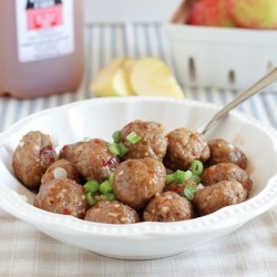 Apple Cider Glazed Meatballs by TheMessyBaker: Recipe, Sweet, Food, Apple Cider, Apples, Glazed Meatballs, Appetizer