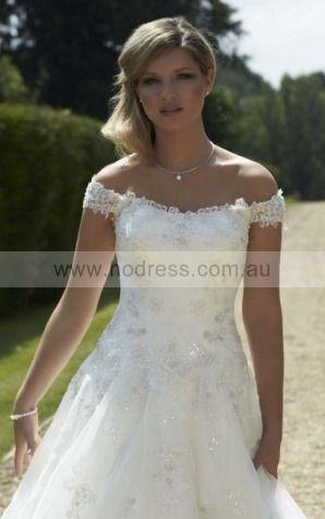 Off The Shoulder Chiffon Natural Zipper Wedding Dresses glcf1002--Hodress