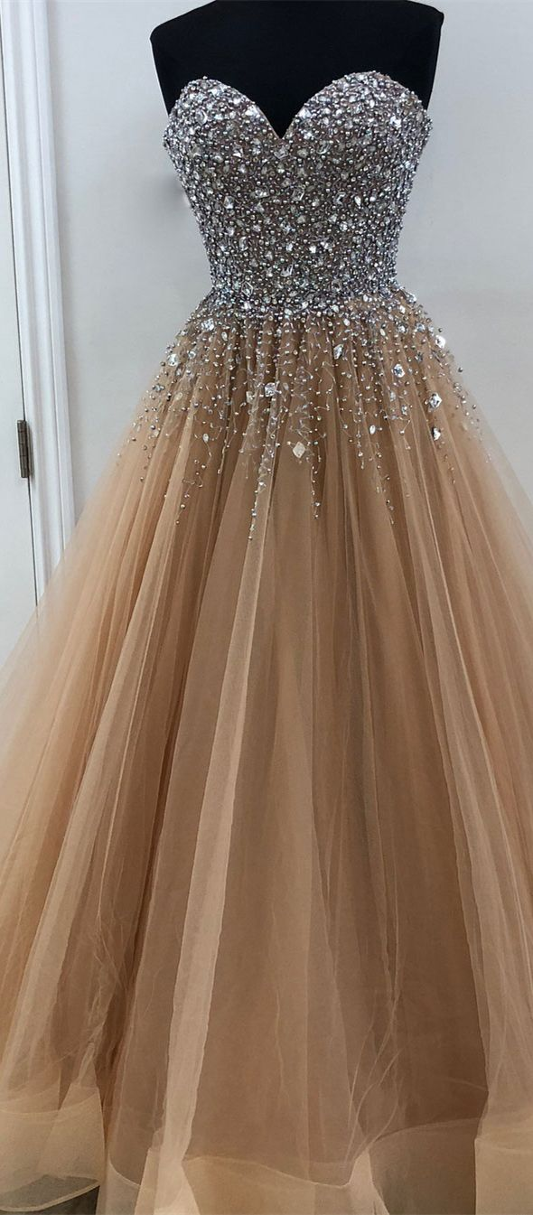 Silver beaded Long Prom Dresses from SheerGirl,Strapless and Sweetheart Neckline,Nude color tulle with beaded top,Shine Pageant Dresses for 2018 Prom,#sheergirl,#prom