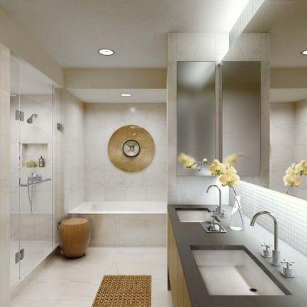 łazienka z dwoma umywalkami / bathroom with two sinks   photo: Gwathmey Siegel & Associates Architects