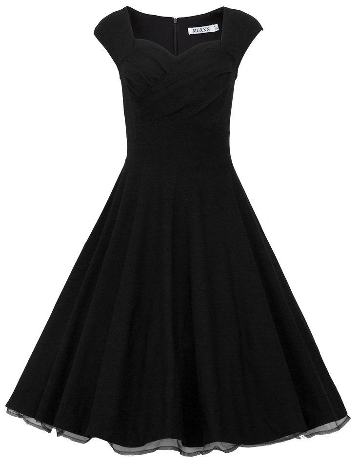 MUXXN® Women 1950s Vintage Retro Capshoulder Party Swing Dress (XS, Blue)